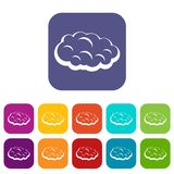 Cloud icons set flat. Cloud icons set vector illustration in flat style In colors red, blue, green and other Stock Image