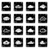 Cloud icons set grunge vector. Cloud icons set vector grunge isolated on white background Royalty Free Stock Photos