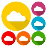 Cloud icons set with long shadow. Vector icon Royalty Free Stock Images