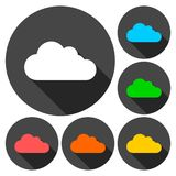 Cloud icons set with long shadow. Vector icon Stock Images