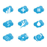 Cloud icons set. Simple one colors computing symbols, signs and logos Royalty Free Stock Photos