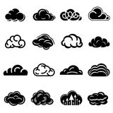 Cloud icons set, simple style. Cloud icons set. Simple illustration of 16 cloud vector icons for web Stock Photography