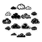 Cloud icons set, simple style. Cloud icons set. Simple illustration of 16 cloud vector icons for web Stock Image