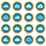Cloud icons set, simple style. Cloud icons set. Simple illustration of 16 cloud vector icons for web Royalty Free Stock Image