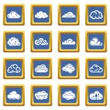 Cloud icons set blue square vector. Cloud icons set vector blue square isolated on white background Stock Photography