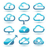 Cloud icons set. In vector on white background Stock Photo