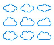 Cloud icons set on white background. Illustration of cloud icons set on white background Royalty Free Stock Images