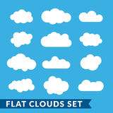 Cloud icons set. White outline isolated on blue sky background. Collection template elements design. Symbol of space, weather, clear and nature. Abstract signs Royalty Free Stock Photography