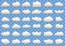 Cloud icons on transparent blue background. 36 different vector clouds. vector clouds. Eps10 Royalty Free Stock Photos
