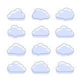 Cloud icons. Vector icon set of blue clouds symbols Stock Image