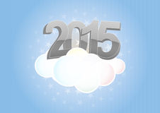 2015 cloud. Illustration of 2015 text on cloud with stars Royalty Free Stock Image