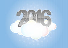 2016 cloud. Illustration of 2016 text on cloud with stars Stock Images