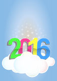 2016 cloud. Illustration of 2016 text on cloud with stars Stock Photography