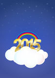 2015 cloud. Illustration of 2015 text on cloud with stars and rainbow Stock Photo