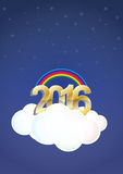2016 cloud. Illustration of 2016 text on cloud with stars and rainbow Royalty Free Stock Photo
