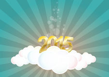 2015 cloud. Illustration of 2015 text on cloud with sunburst Stock Photography
