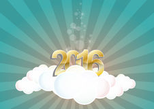 2016 cloud. Illustration of 2016 text on cloud with sunburst Stock Images
