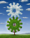 Cloud Industry. Technology and business concept with a clouds in the shape of a gear and a growing tree shaped as a cog coming together connected as a team to stock illustration