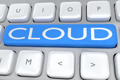 Cloud - internet concept. 3D illustration of computer keyboard with the script CLOUD on a pale blue button Royalty Free Stock Photography
