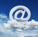 Cloud internet email service concept. Internet cloud service concept email symbol on blue sky background vector illustration