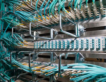 Cloud Internet opitcal fiber connections in a datadenter Stock Image