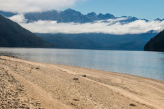 Cloud inversion above lake Manapouri in New Zealand Royalty Free Stock Photography