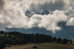 Cloud inversion above Val Gardena in Dolomites Stock Photo