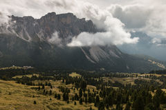 Cloud inversion above Val Gardena in South Tyrol Stock Photo
