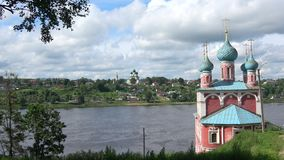 Cloud july day at the Kazan Church. Tutaev Romanov-Borisoglebsk, Yaroslavl region stock video