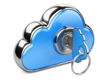 Cloud with key on white background.  3D image Royalty Free Stock Image