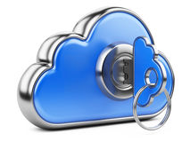 Cloud with key on white background. Isolated 3D image Royalty Free Stock Image