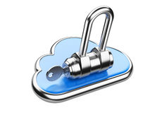 Cloud with key on white background. Isolated 3D image Royalty Free Stock Images