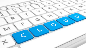 Cloud on keyboard concept Stock Photos