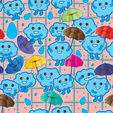 Cloud kind holding umbrella sticker seamless pattern Royalty Free Stock Photos
