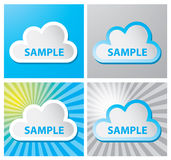Cloud label. Four cloud labels with sample text and various backgrounds Royalty Free Stock Photos