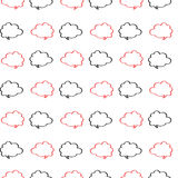 Cloud labels in red and black on a white background pattern Stock Photo