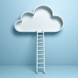 Cloud with ladder abstract concept on light blue pastel color background. With reflection and shadow . 3D rendering Royalty Free Stock Photo