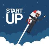Cloud landscape background star up business man flying in rocket. Vector illustration Stock Photography
