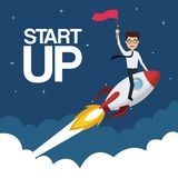 Cloud landscape background star up business man on a rocket with flag. Vector illustration Royalty Free Stock Photography