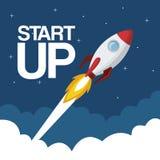 Cloud landscape background star up rocket flying. Vector illustration Stock Photos