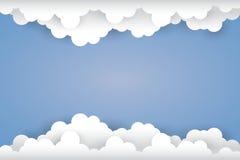 Cloud  on ligh blue background  Paper art Style. Illustrat Royalty Free Stock Image