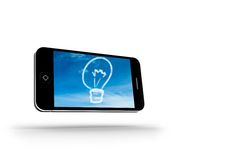 Cloud light bulb on smartphone screen Stock Photography