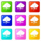 Cloud with lightning and rain icons 9 set Royalty Free Stock Images