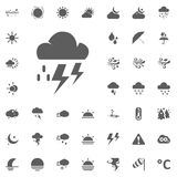 Cloud lightning and raind icon. Weather vector icons set Royalty Free Stock Photography