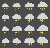 Cloud and lightning, storm on gray background vector illustration