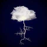 Cloud with lightning strike vector illustration
