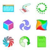 Cloud loading icon set, cartoon style Stock Photo