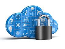 Cloud and lock (clipping path included) Stock Photos
