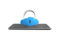 Cloud lock with smart tablet, 3D rendering Stock Image