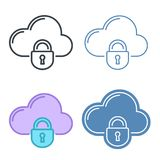 Cloud with lock vector outline icon set. Data protection line symbols and pictograms. Vector thin contour infographic elements. Concept illustrations for web Royalty Free Stock Photography